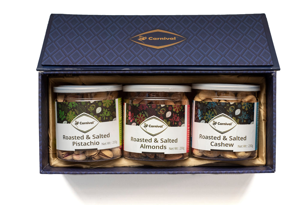 roasted and salted cashews, roasted salted almonds and pistachios gift box