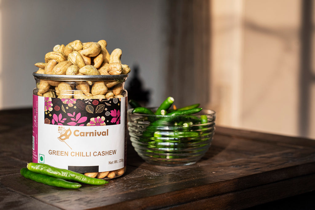 green chilli cashews on a wooden table