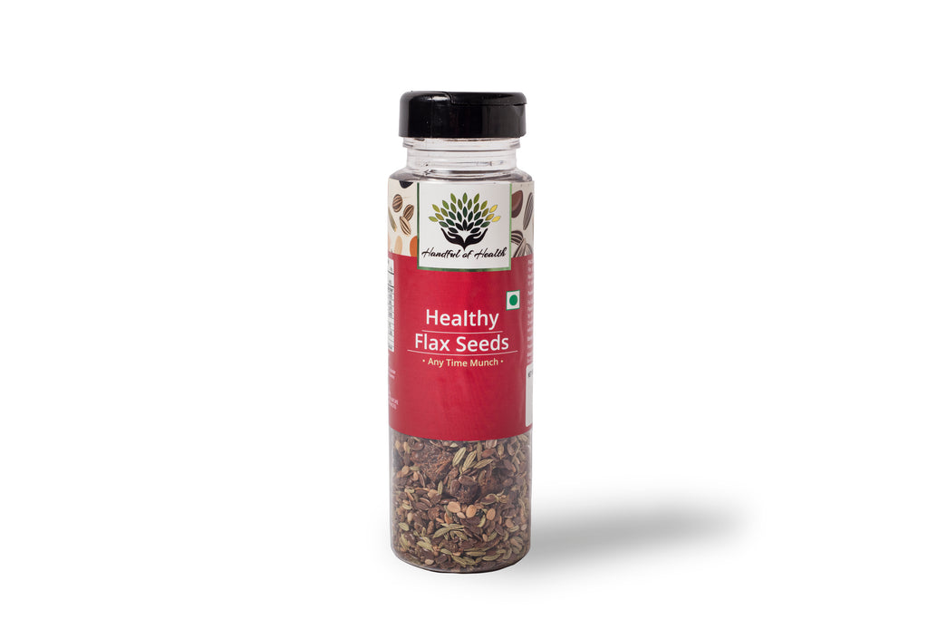pack of healthy flax seeds on a white background