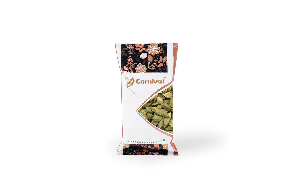 100g pack of cardamom on a white background