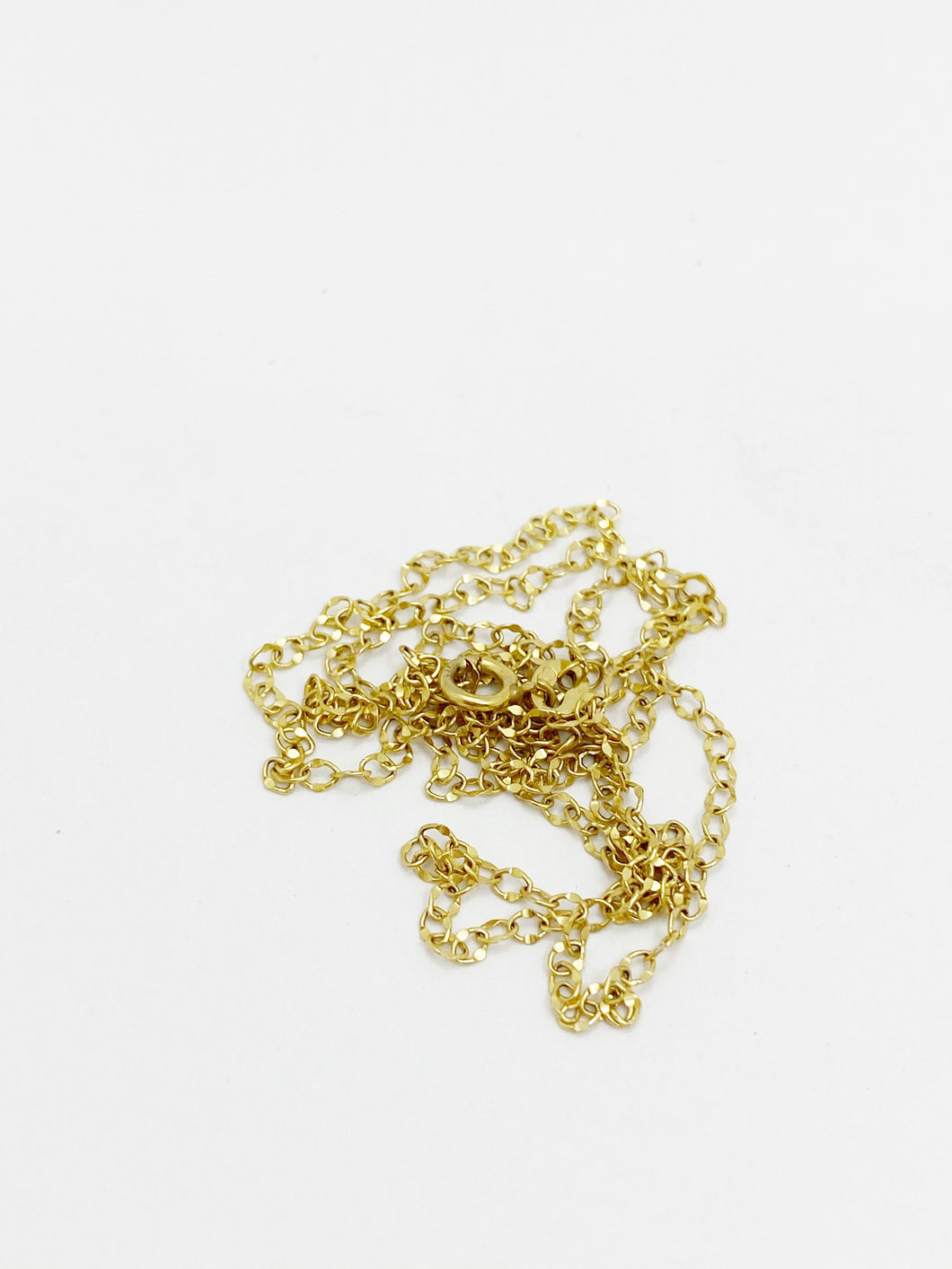 9ct Yellow Gold Hammered Cable Chain, 45cm Long