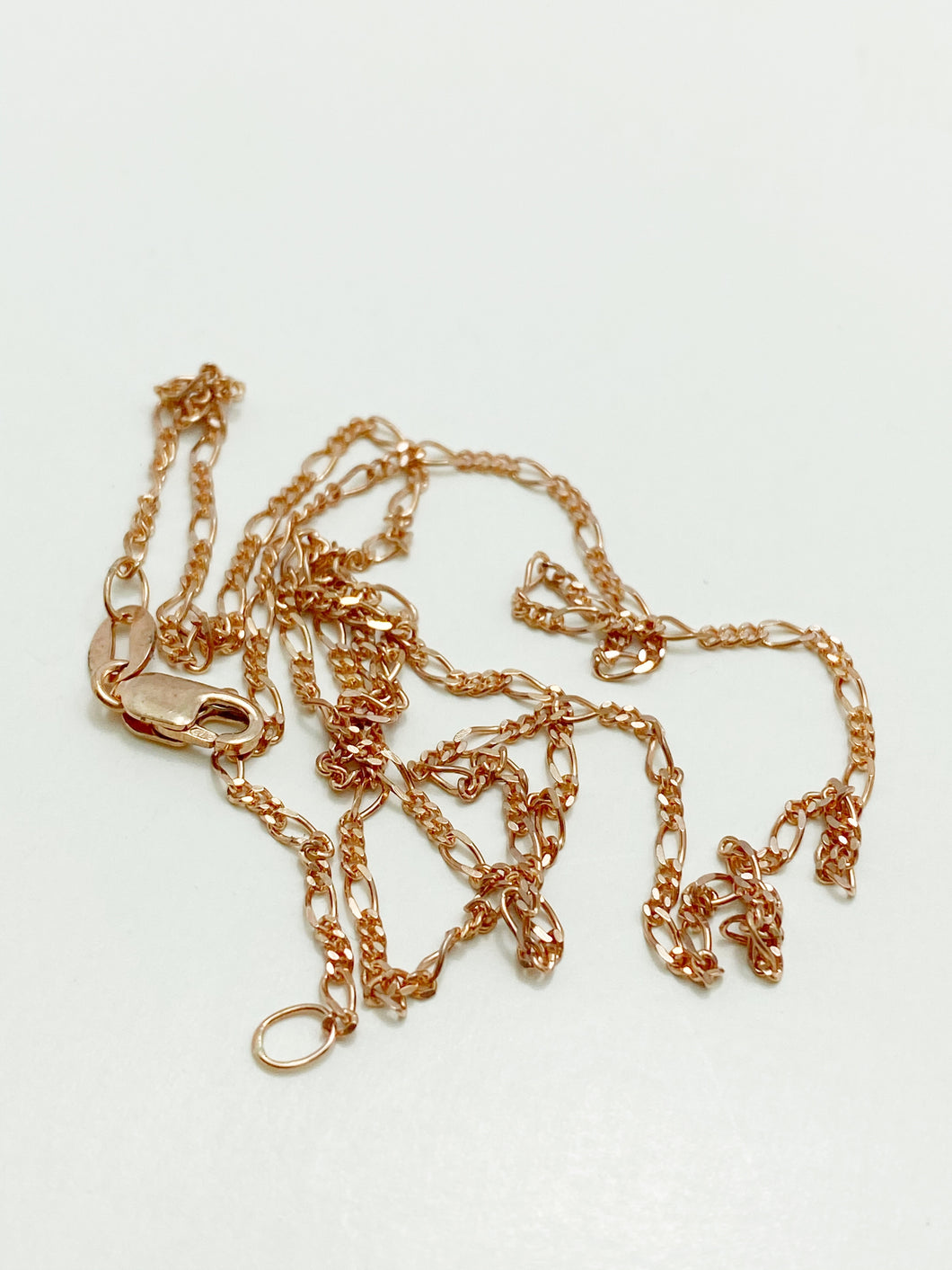 9ct Pink Gold Figaro 3:1 Chain, 40cm, 45cm, 50cm or 55cm Long