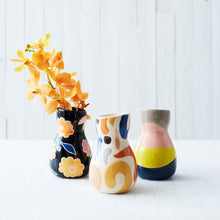 Load image into Gallery viewer, SATURDAY VASE BLUE YELLOW SPLICE