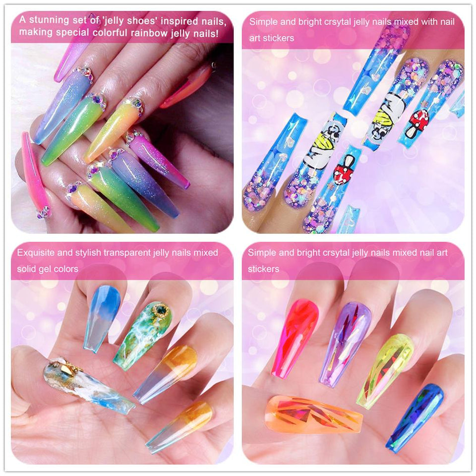 Gel Polish Crystal Rainbow Jelly Gel Nail Kit 6PCS Shiny Resistant Soak Off UV LED Curing Gels Lacquer Color Gel