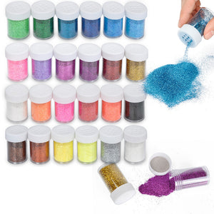 Glitter Powder For  24 Colors Craft Extra Fine in Shining Shakers Glitter For Nail Polishing