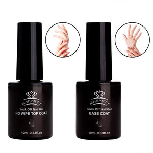 Gel Nail Polish No Wipe Top and Base Coat Set  UV LED 2 x 10ml