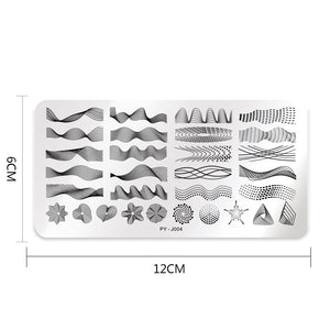 Nail Stamping Plates Rectangle Geometric Line Wave Pattern Stainless Steel Nail Art Image Stamp Stencils Design