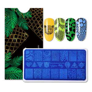 Nail Stamping Plates Natural Animal Snake Scale Flower Wolf Theme Image 12*6cm Template Mold Nail Art Stencil