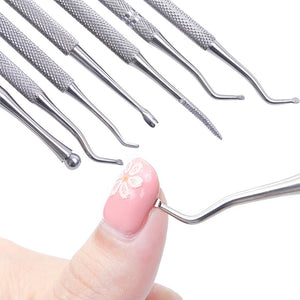 Dual ended Nail Cuticle Remover Pusher Stainless Steel Spoon Stick Gel Nail Nippers Dead Skin Push Tools Manicure