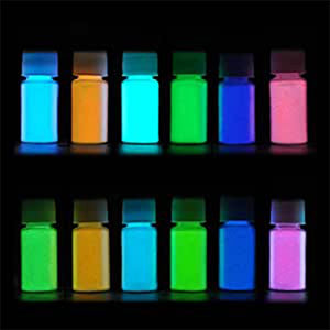 12Colors Glow in dark pigment powder with UV Lamp Neon Colour Paint Fluorescent Powder 20g/Bottle