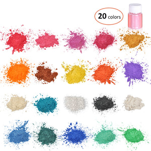 20 Colors Mica Glitter Sculpture Powder Pigment Kit Organized With Pearlescent Pearl