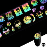 Starry Sky Colorful Pattern Women Nail Sticker Water Transfer Decal Sliders for DIY Nail Art Decoration