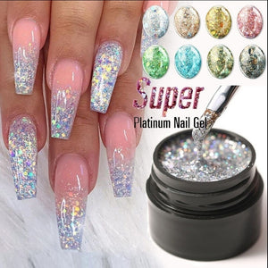 Platinum Glitter Led Gel Soak Off Nail Gel Lacquer Shiny Sequins Decorations UV Gel Varnish Painting Flowers UV Polish