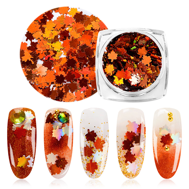 Holographic Leaves Nail Art Decorations Yellow Red Sequins Paillette Tips Nail Glitter Flakes Fall Maple