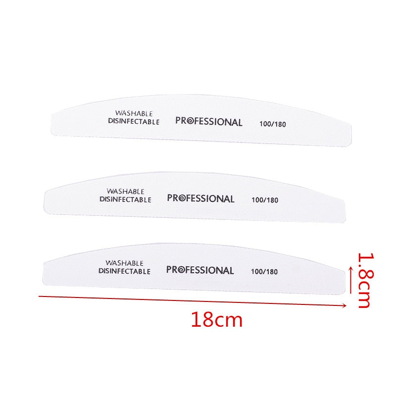 10pcs/lot Professional Nail File 100/180 Half Moon