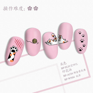 Rectangle Nail Stamping Plates Cute Cats Stainless Steel Template Nail Art Image Stencil Animal DIY Plate Tools
