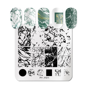 Marble Striped Line Christmas New Year Nail Stamping Plates Flower Leaves Geometric Plate Stainless Steel Stencil Tools