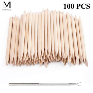 New 100pcs/set 50pcs/set Orange Wood Stick Cuticle Pusher