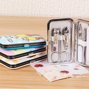 Cartoon Printing Nail Scissors Set 7Pcs Set Nail Clippers Eyebrow Scissors Nail File Ear Spoon Beauty Manicure Tools