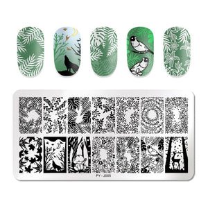 Natural Plants Flower Nail Stamping Plates Christmas Striped Line Mandala Nail Art Plate Stencil Stainless Steel Design
