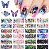 12 Patterns Big Sheet Water Decal Colorful Mixed Patterns Nail Art Transfer Stickers Decoration DIY Design Tools