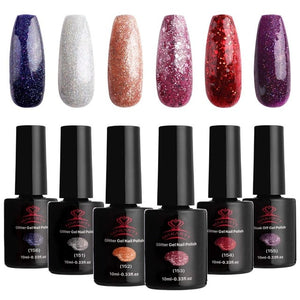 Soak Off Gel Nail Polish Set 10 ML 6 Bottles Fashion Colors in Winter UV LED Lamp Required UV Gel Nails 6pcs