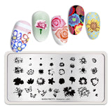 Rectangle Nail Stamping Plates Marble Texture Ink Stainless Steel Template Nail Art Image Texture  DIY Plate Tools