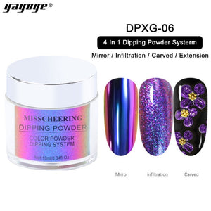 4 In 1 Dipping Nail Powder For Infiltration Mirror Extension Gradient Dipping Nail Glitter for Nail Art