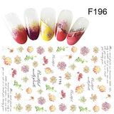 1 Sheet Pink Flower Green Leaves Feather Water Transfer Slider for Nail Art Decoration