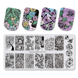 Nail Stamping Plates Rectangle Summer Flower Geometry Nail Art Template Mold Image Plate Stencils