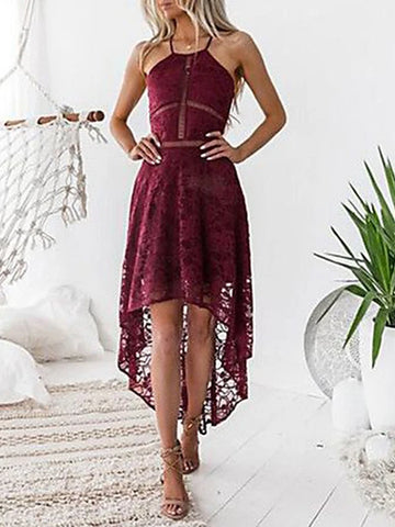 Sexy Lace Dress Wine Women's Party Asymmetrical Slim Sheath Dress