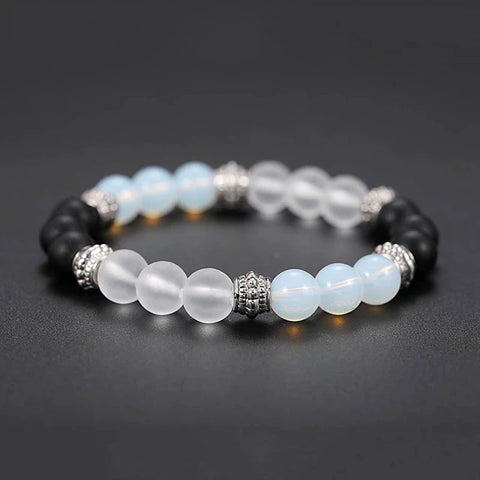 Natural Men's Crystal Black Matte Bead Bracelet, accessories, accessories, bracelet - ThingsBuy