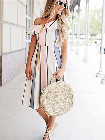 Women's Basic A Line Dress - Striped Ruched Patchwork Print White M L XL