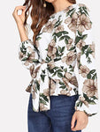 Mujer Acordonado Camiseta Floral Blanco, women's clothes, Mujer Acordonado Camiseta Floral Blanco, women clothes, women's clothes, women's clothes - ThingsBuy