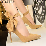 dress shoes women stiletto moccasin bigtree shoes Butterfly knot new arrival 2019 green shoes for women luxury high heels buty, ,  - ThingsBuy