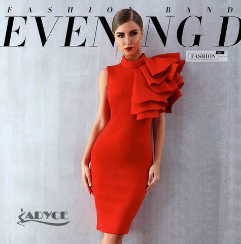 Adyce Women Sleeveless Ruffles Dress, women clothes, Adyce 2019 Nuove Donne di Estate Rosso Bianco Celebrity Runway Vestito Da Partito Vestido Sexy Senza Maniche Ruffles Aderente Midi Night C