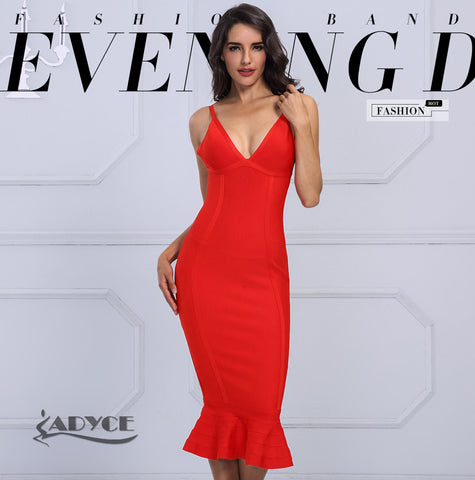Adyce Women Sexy V-Neck Strap Sleeveless Dress