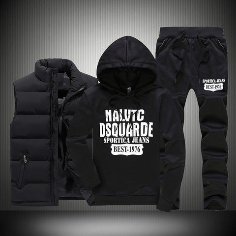 Men's Casual Tracksuits Set (3 Pieces), men sportswear, men clothes, Men's Winter Tracksuits Casual Sportswear Sweatshirts Mens Set 3 Pieces Warm Vest Sweatpants Hoodie Letter Printed Plus Si