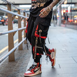Letter Ribbons Casual Hip Hop Joggers, men sportswear, men clothes, men coats - ThingsBuy