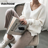 Women Sweaters Casual V Neck Women Pullover Sweater Solid Long Sleeve Fashion Loose Knitted Top - ThingsBuy