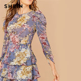SHEIN Allover Botanical Print Gigot Sleeve Dress, women clothes, Women clothes - ThingsBuy