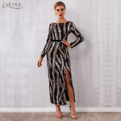 Adyce Women  Backless Maxi Long Sleeve Night Club Dress, women clothes, Adyce 2020 New Spring Sequin Celebrity Evening Runway Party Dress Women Vestidos Sexy Backless Maxi Long Sleeve Night C