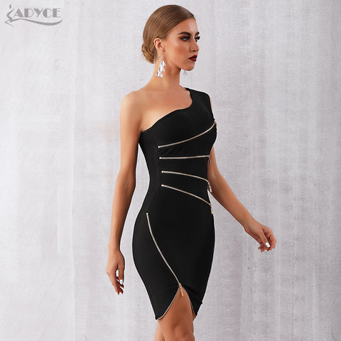 ADYCE Women One Shoulder Zipper Dress, women clothes, ADYCE 2019 New Summer Women Bandage Dress Sexy One Shoulder Zipper Black Clubwear Dress Vestidos Celebrity Evening Party Dresses, women c