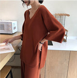 Knitting Female Sweater Pantsuit For Women Two Piece Set Knitted Pullover V-neck Long Sleeve Bandage, women sweater, Female Sweater Pantsuit, Female Sweater Pantsuit For Women Two Piece Set,