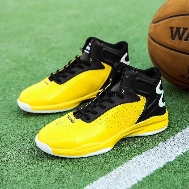 Yellow High Top Retro Basketball Shoes