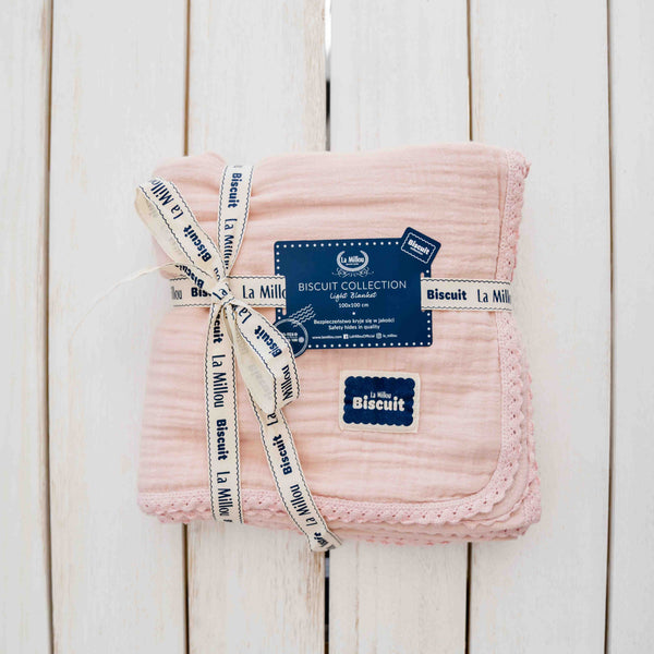 COUVERTURE BISCUIT MOUSSELINE DE COTON ROSE
