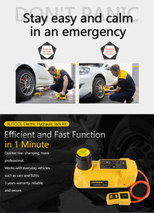AUTOOL hydraulic Car Jack 5T DC Auto Lift Rolling Jacks With Electric Wrench kits For SUV Off-road Vehicle 33cm Hight