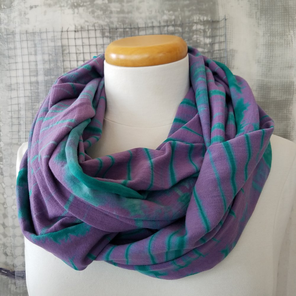 Purple and Green Vat Dyed Arashi Shibori Wide Cotton Infinity Scarf