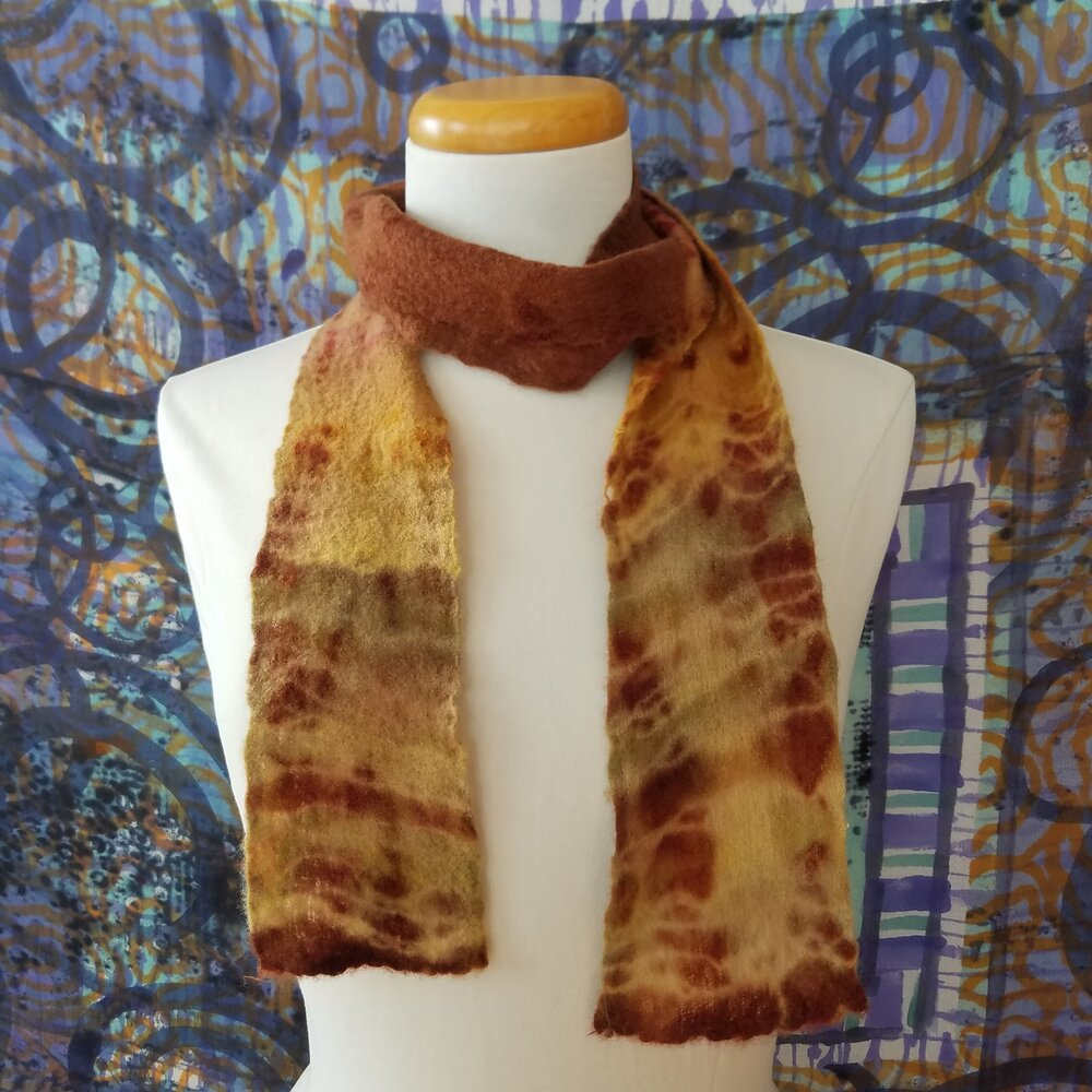 Rust Brown, Red, Mustard Merino Wool Gauze Scarf