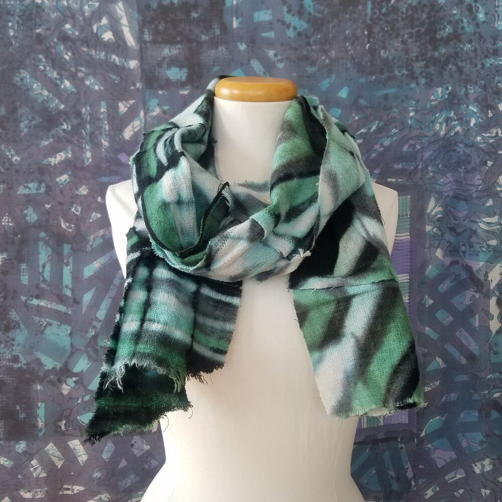 Green, Black, White, Zig Zag Itajime Woven Wool Pieced Scarf